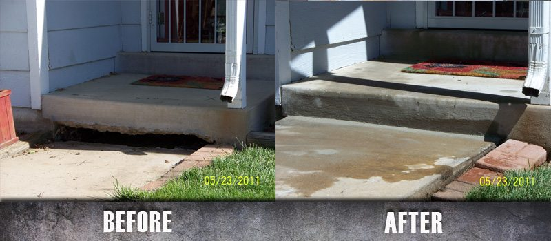 Repair Concrete Stairs Mudjacking before and after 9